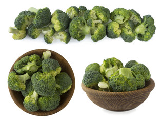 Set of broccoli isolated on a white background. Broccoli at border of image with copy space for text.