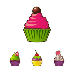 Vector cupcakes or muffins icon. Colorful dessert with cream, chocolate, cherries and strawberries. Multicolor cute cupcake sign for flyers, postcards, stickers, prints, posters, decorations.