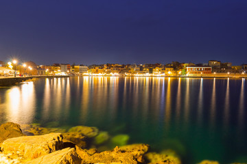 Old Venetian port of Chania at night, Crete. Greece