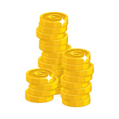 Stack gold euro isolated cartoon. Bunches of gold euro and euro signs for designers and illustrators. Gold stacks of pieces in the form of a vector illustration