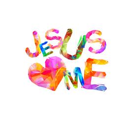 Jesus loves me. Triangular letters