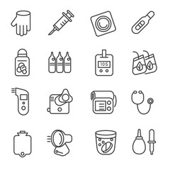 Different types of medicines and medical tools as line icons / Icons of medical tools like stethoscope, thermometer, and nebulizer