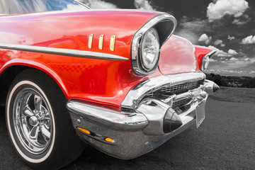 Old american car - front view
