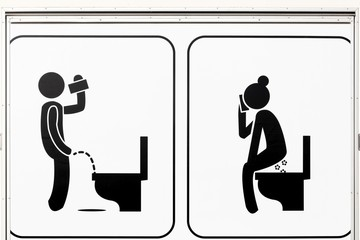 Sign of toilets for men and women