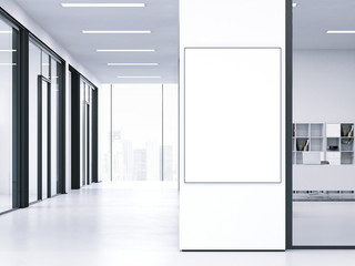 White clean interior with blank banner. 3d rendering