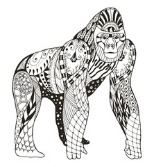 Gorilla zentangle stylized, vector, illustration, freehand pencil, hand drawn, pattern. Anti stress coloring books for kids and adults.