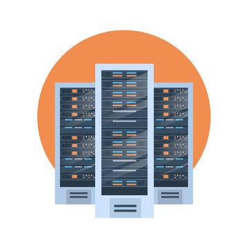 Data Center Icon Cloud Computer Connection Hosting Server Database Synchronize Technology Vector Illustration