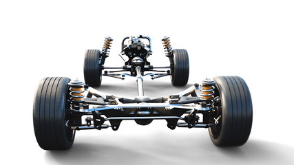 Car chassis with engine on white isolate. 3d rendering.