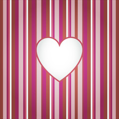 Heart on red stripes background. Vector illustration. Valentine's  day.