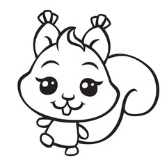 vector cute squirrel coloring page illustration