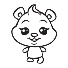 vector cute bear coloring page illustration