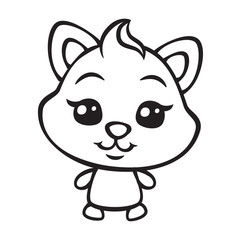 vector cute cat coloring page illustration