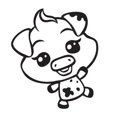 vector cute pig coloring page illustration