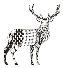 Artistically hand drawn, zentangle stylized deer vector, illustration, pattern, lace. Anti stress coloring books for kids and adults.