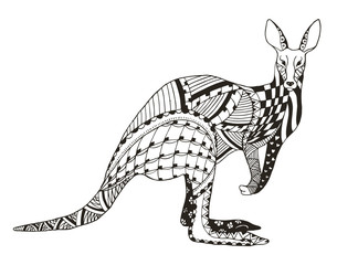 Kangaroo zentangle stylized, vector, illustration, freehand pencil. Pattern. Zen art. Anti stress coloring books for kids and adults.