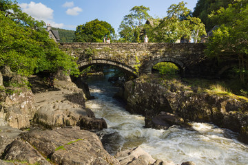 The ancient Pont-y-Pair Bridge in Betws y Coed Wales UK