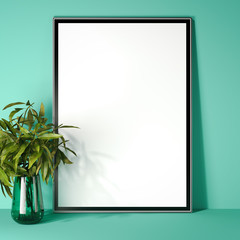 Picture frame in modern green interior. 3d rendering