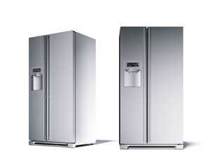 Two silver refrigerator in the white studio. 3d rendering