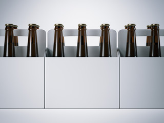 Blank packages with beer bottles. 3d rendering