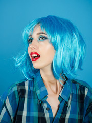 Girl with bright artificial hair.