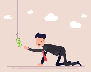 Businessman or manager creeps for money. A man ready for anything for the sake of money. A trap for a person, money on a hook. Vector illustration isolated on color background.