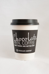 Hot coffee and chocolate to go cup