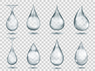 Transparent gray drops. Transparency only in vector format