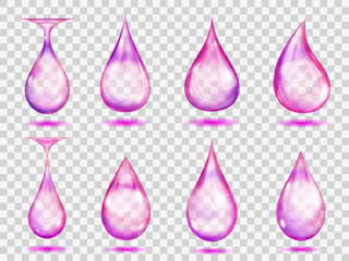 Transparent purple drops. Transparency only in vector format