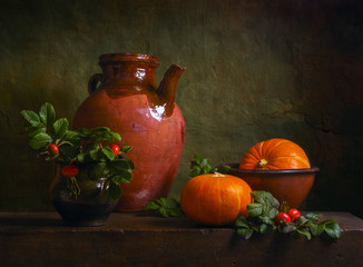 Still life with pumpkins and briars