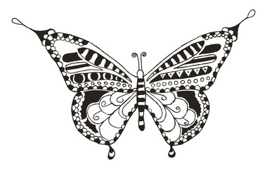 Butterfly zentangle stylized, vector, illustration, freehand pencil, hand drawn, pattern. Anti stress coloring books for kids and adults..