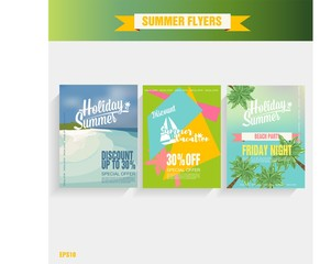 Set Beach party background. Vector Illustration poster summer time