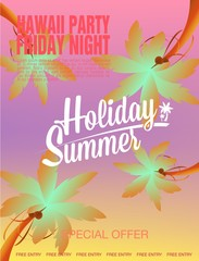 Summer Beach Party Flyer. Vector Illustration poster beach party and summer time