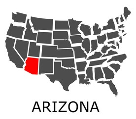 Bordering map of USA with Arizona state marked with red color.