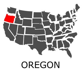 Bordering map of USA with Oregon state marked with red color.