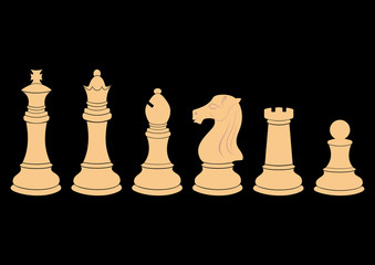 Complete set of vector silhouettes chess figures in white color
