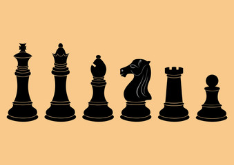 Complete set of vector silhouettes chess figures in black color