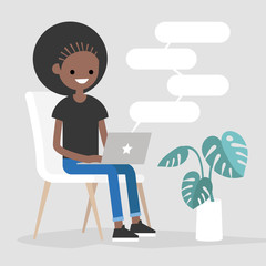 Young black female character typing messages on a laptop. Remote communication. Modern lifestyle. Copy space. Flat editable vector illustration.