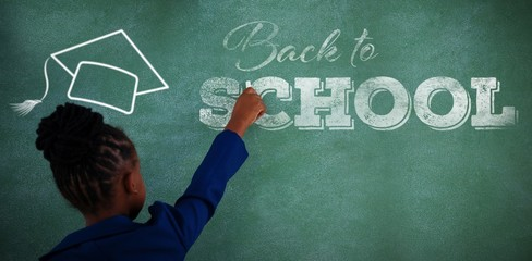 Composite image of back to school text over white background