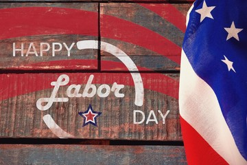 Composite image of digitally generated image of happy labor day