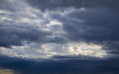 Grey Dark Dramatic Overcast Skies Partial After Rain. Photo.