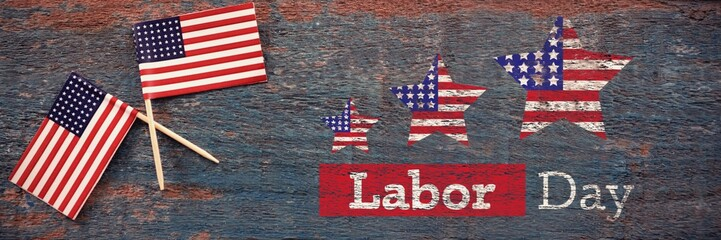 Composite image of composite image of labor day text with star s