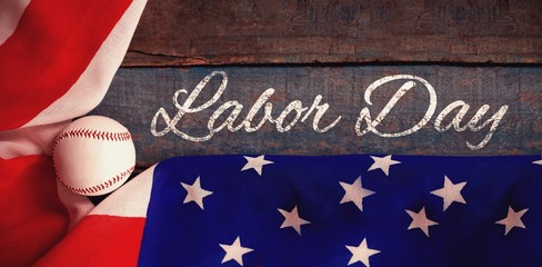 Composite image of panoramic shot of labor day text