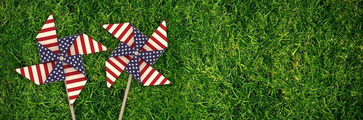 Composite image of 3d image composite of pinwheel with american