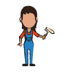 woman holding paint roller avatar icon image vector illustration design