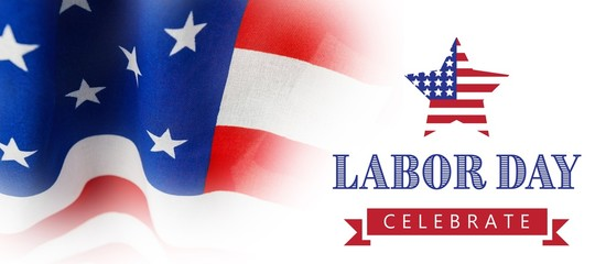 Composite image of labor day celebrate text and star shape ameri