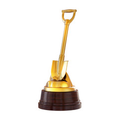 The trophy on the stand - Gold shovel. Isolated on white background. 3d render