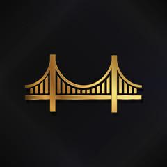 Golden San Francisco Bridge vector logo image