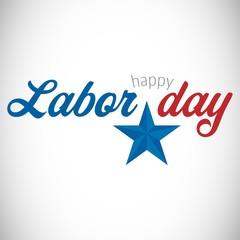 Digital composite image of happy labor day text with star shape