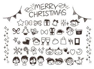 クリスマスのガーリーな手描き風アイコンセット(モノクロ)