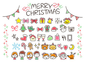 クリスマスのガーリーな手描き風アイコンセット(カラフル)